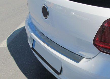 """Накладка на порог заднего бампера, нерж., матированная для VW Polo """"09- «HB»"""