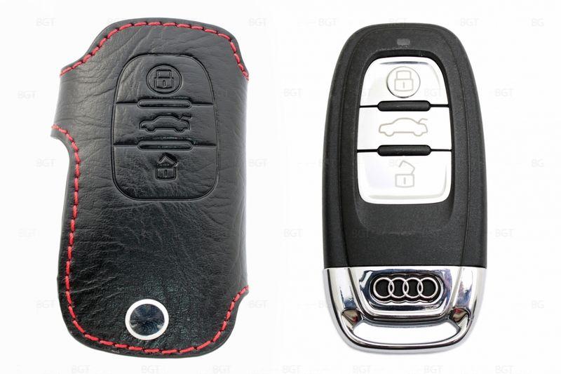 Чехол для ключа Audi «Брелок», Кожаный, Цвет нити: Красный