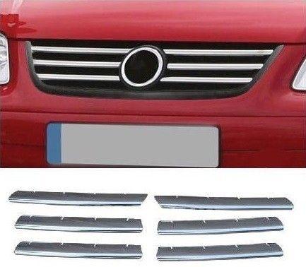 """Накладки на решетку радиатора, нерж., 6 частей для VW Touran """"03-06"""""""