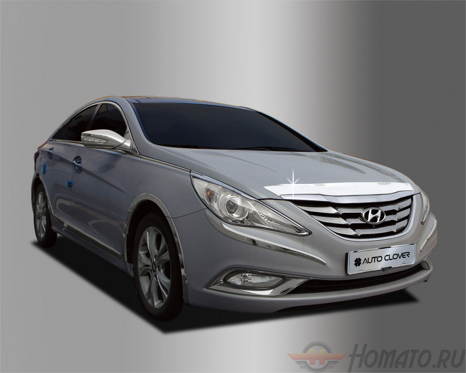 Дефлектор капота «хром» Autoclover «Корея» для Hyundai Sonata YF 2009-2014