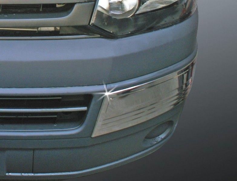 Накладки на передний бампер, нерж., 2 части вар.1 для VW T5 Transporter