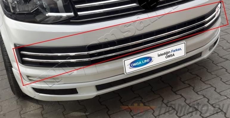 Накладки на передний бампер для VW T6 2015+ Transporter : нержавейка, 6 частей