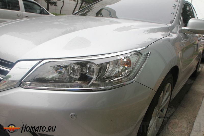 Хром молдинги передних фар для Honda Accord 9 2012+